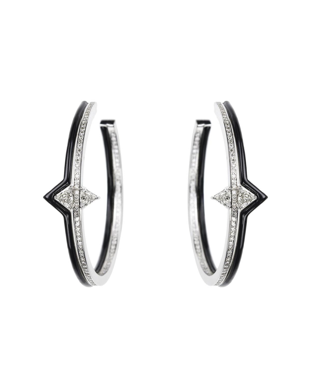 NIKOS KOULIS V 18K White Gold, Black Enamel & Diamond Hoop Earrings