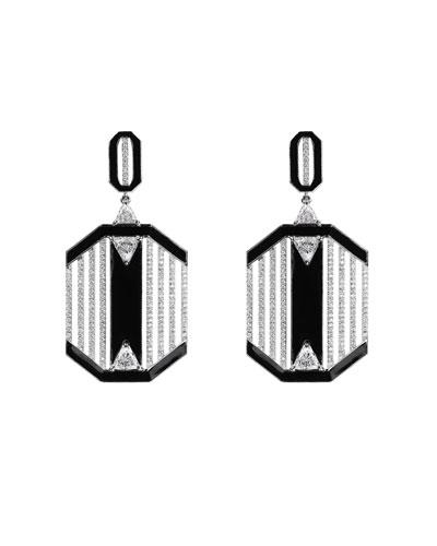 18k White Gold Oui Diamond & Black Enamel Dangle Earrings