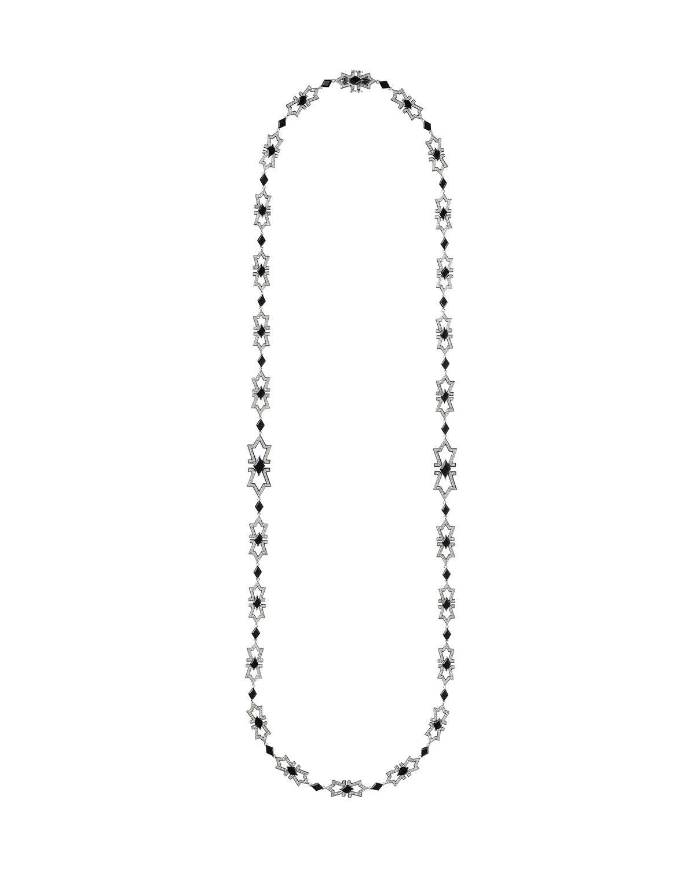 NIKOS KOULIS V 18K White Gold Diamond & Onyx Necklace