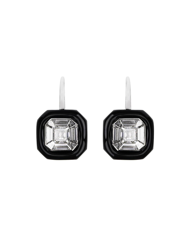 NIKOS KOULIS 18K White Gold Oui Diamond & Black Enamel Earrings