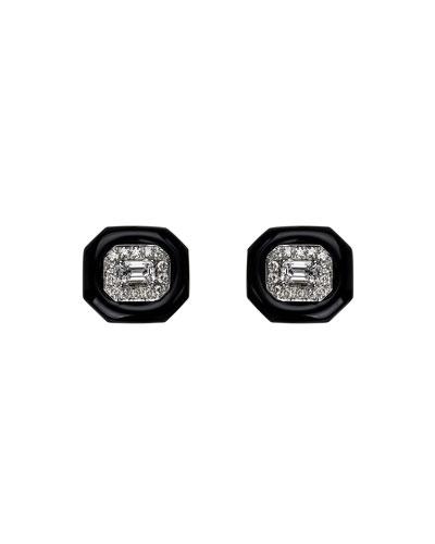 18k White Gold Oui Emerald-Cut Diamond Earrings