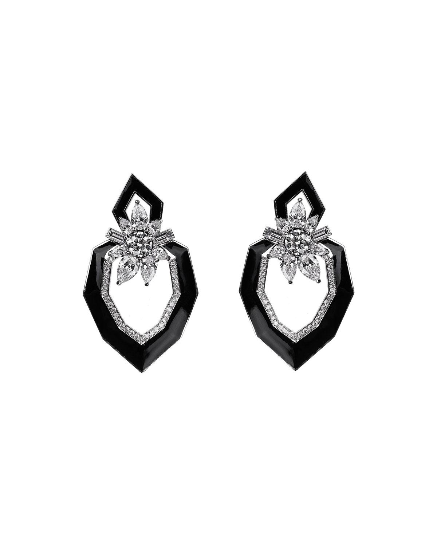 NIKOS KOULIS 18K White Gold Oui Diamond & Enamel Earrings