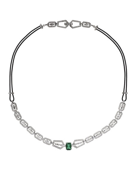 Nikos Koulis V 18k White Gold Diamond & Emerald Necklace