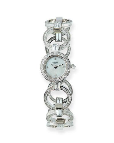 Faubourg Ring 18k White Gold Diamond Watch