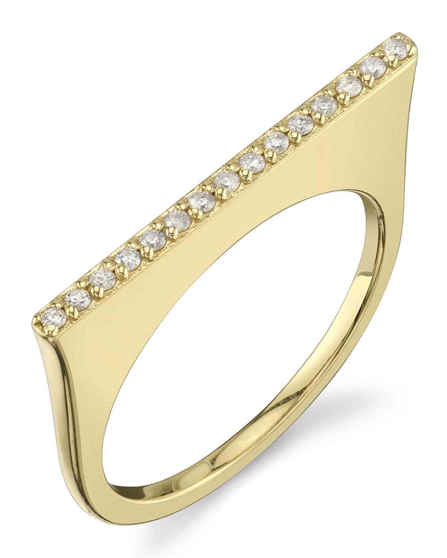 SHERYL LOWE 14K GOLD LINEAR TOWER RING W/ DIAMOND PAVÉ, SIZE 7