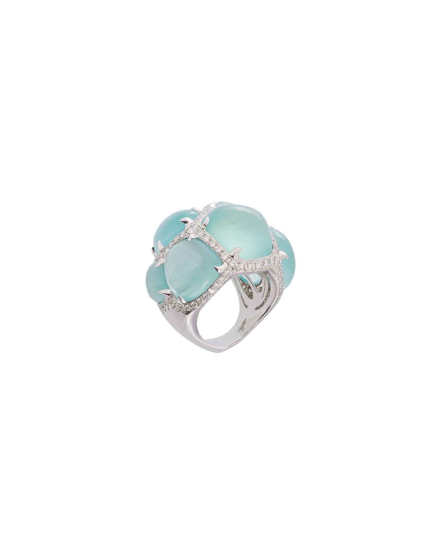 MARGOT MCKINNEY JEWELRY 18K Multi-Aquamarine Ring W/ Diamonds, Size 6.5