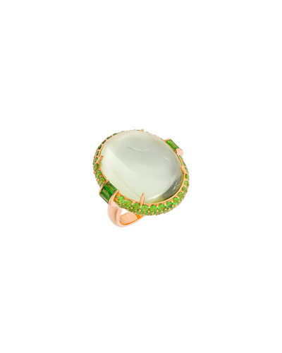 18k Rose Gold Green Beryl & Tsavorite Ring, Size 6.5