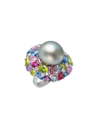18k White Gold Tahitian Pearl & Mixed Stone Ring, Size 6.5