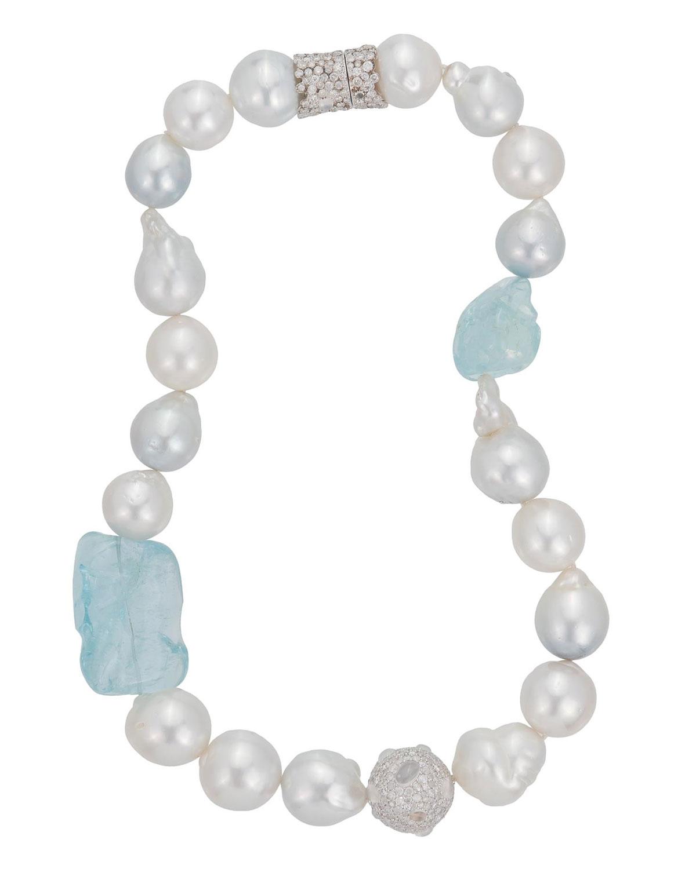 MARGOT MCKINNEY JEWELRY 18K White Gold Pearl & Aquamarine Necklace