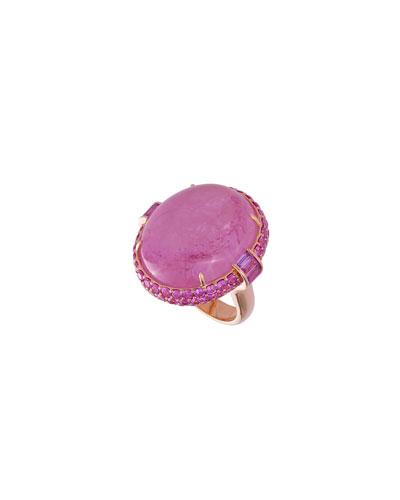 18k Rose Gold Tourmaline & Sapphire Ring, Size 6.5