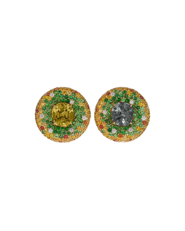 MARGOT MCKINNEY JEWELRY 18K Gold Round Multi-Stone Stud Earrings