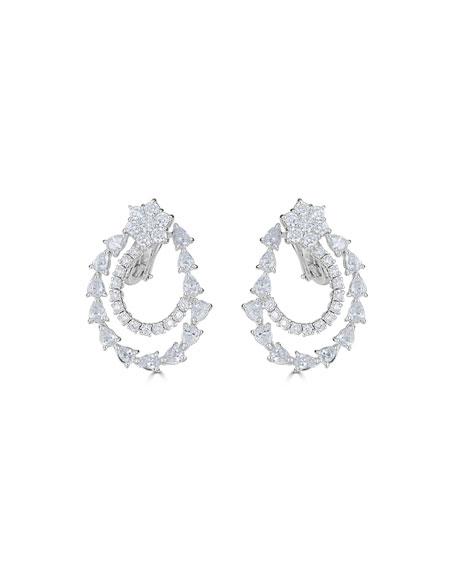 ZYDO 18k Luminal Diamond Flower & Spiral Drop Earrings