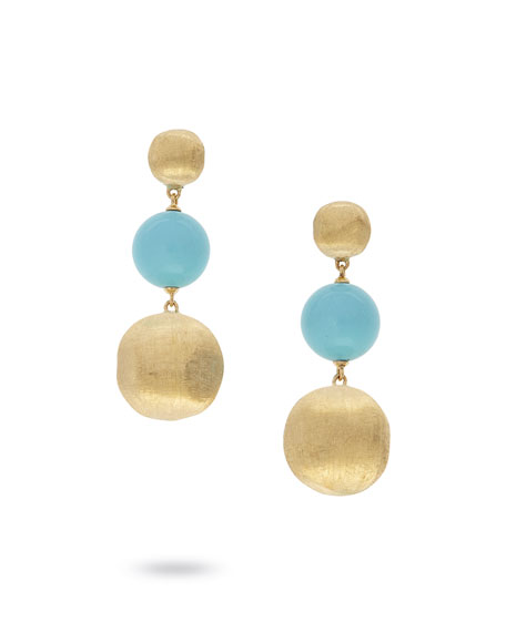 Marco Bicego 18k Gold Africa Large Turquoise 3-Drop Earrings