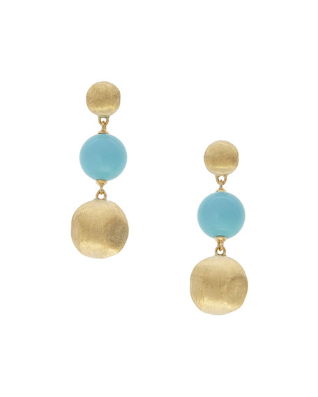 Marco Bicego Africa 18k Gold 3-Drop Earrings w/ Turquoise