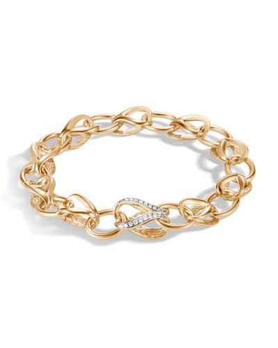 18k Classic Chain Link Bracelet w/ Diamonds, Size M