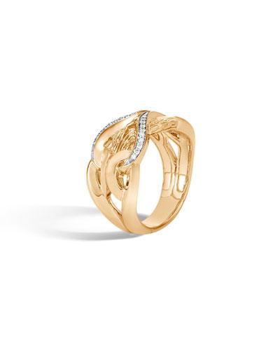 18k Classic Chain Ring w/ Diamonds, Size 7