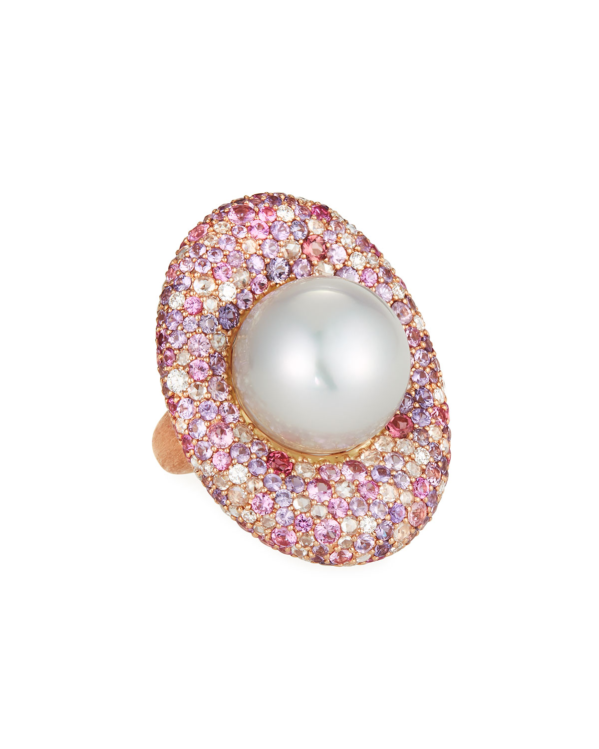 MARGOT MCKINNEY JEWELRY 18K Rose Gold & South Sea Pearl Cocktail Ring, 16.6Mm, Size 6.5