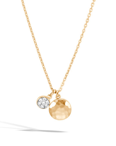 18k Gold Dot Hammered Diamond Pendant Necklace