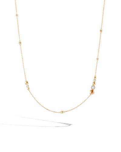 18k Dot Hammered Station Necklace w/ Diamonds