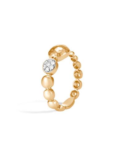 Dot Hammered 18k Gold & Diamond Ring, Size 7