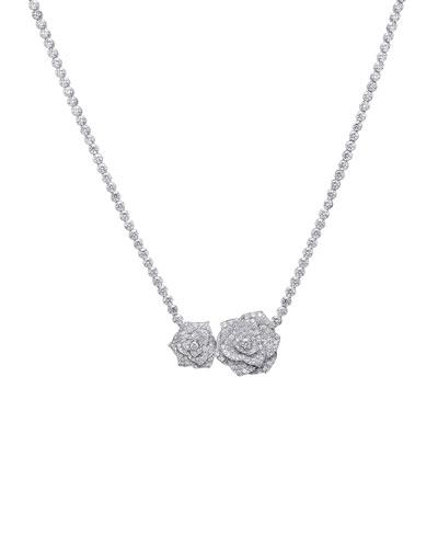 Rose 18k White Gold Brilliant-Cut Diamond Necklace