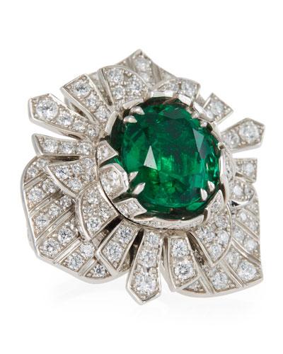 18k White Gold, Diamond & Emerald Ring, Size 54