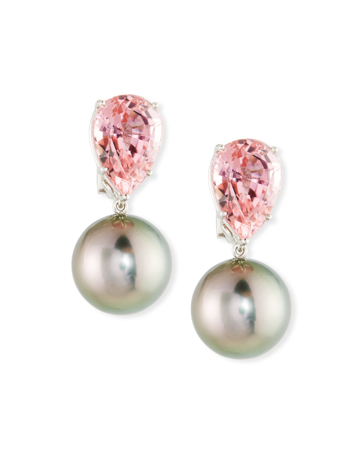 ASSAEL 18K White Gold Tourmaline & Pearl Clip-On Earrings