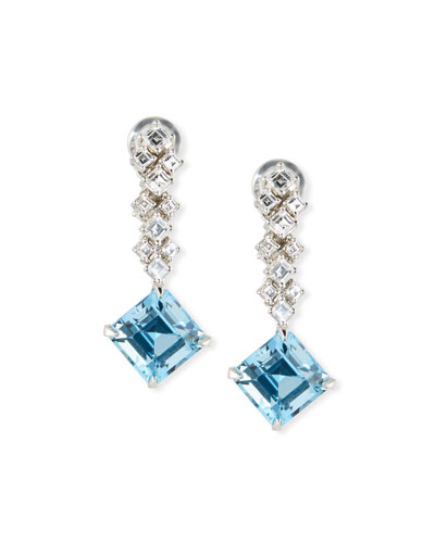 Quick Look Oscar Heyman Platinum Fancy Diamond Aquamarine Earrings