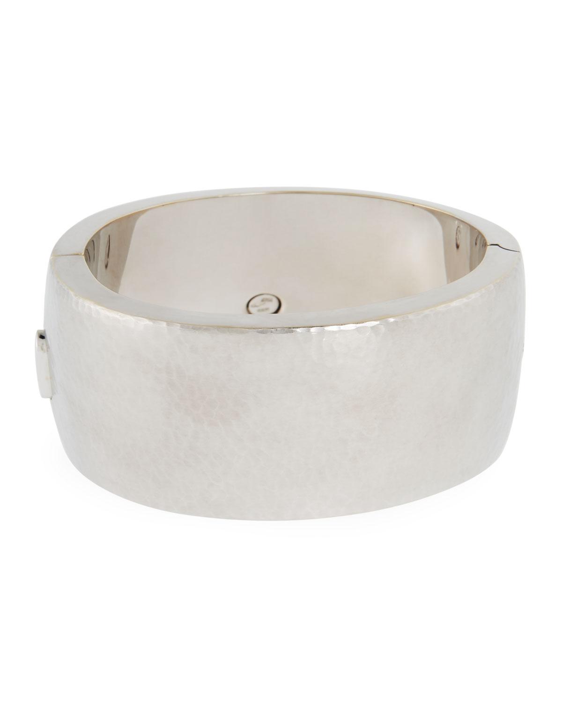 VENDORAFA 18K White Gold Wide Hammered Design Bracelet