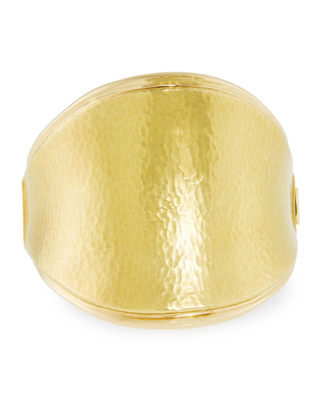 VENDORAFA Hammered 18K Gold Saddle Bracelet