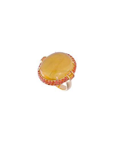 18k Beryl & Sapphire Oval Ring, Size 6.5