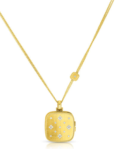 18k Gold Venetian Princess Diamond Locket Necklace, 34