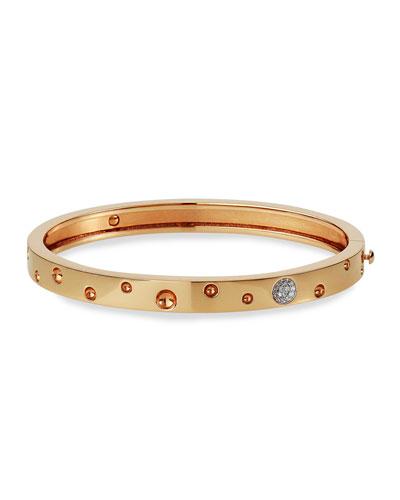 Pois Moi Luna 18k Rose Gold Diamond Thin Bangle Bracelet