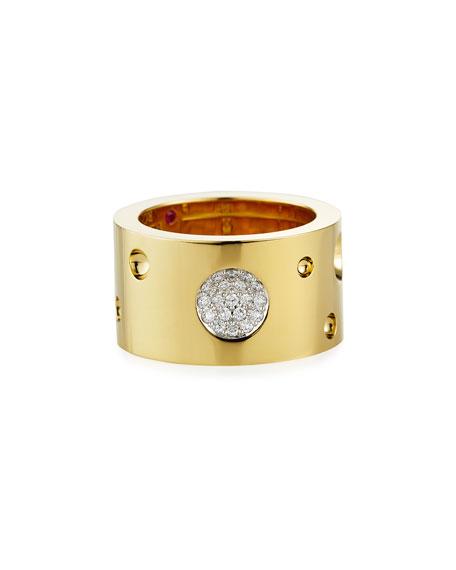 Roberto Coin Pois Moi Luna 18k Gold & Diamond Ring, Size 6.5