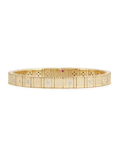 18k Gold Flexible Diamond Princess Bracelet