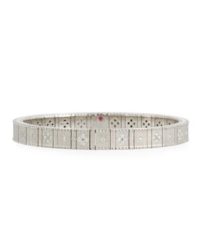 18k White Gold Flexible Diamond Princess Bracelet