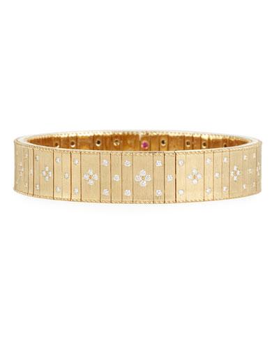 18k Gold Wide Flexible Diamond Bracelet
