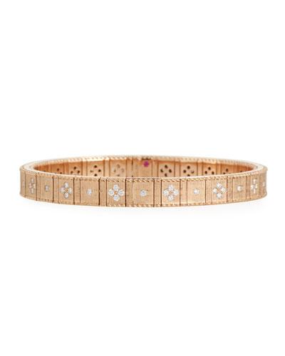 18k Rose Gold Flexible Diamond Princess Bracelet