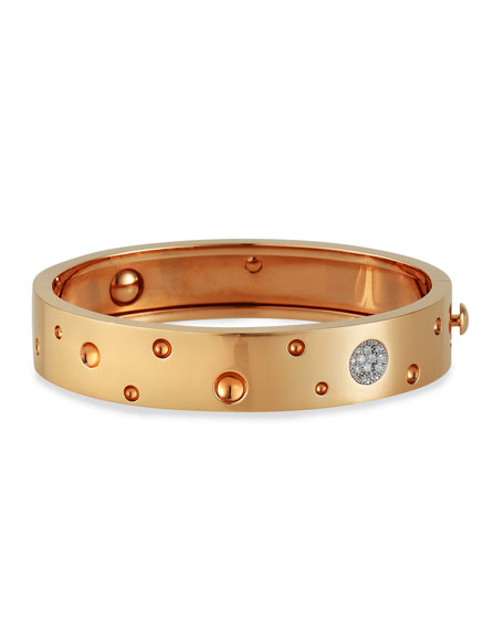 Roberto Coin Pois Moi Luna 18k Rose Gold Diamond Bangle Bracelet