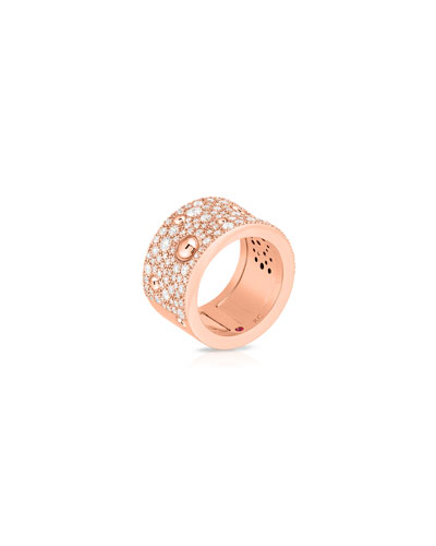 Pois Moi Luna 18k Rose Gold Diamond Ring, Size 6.5