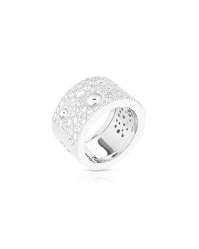Pois Moi Luna 18k White Gold Diamond Ring, Size 6.5