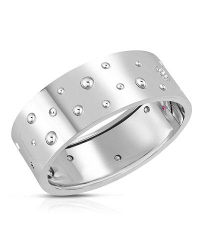 Pois Moi Luna 18k White Gold Diamond Wide Bangle