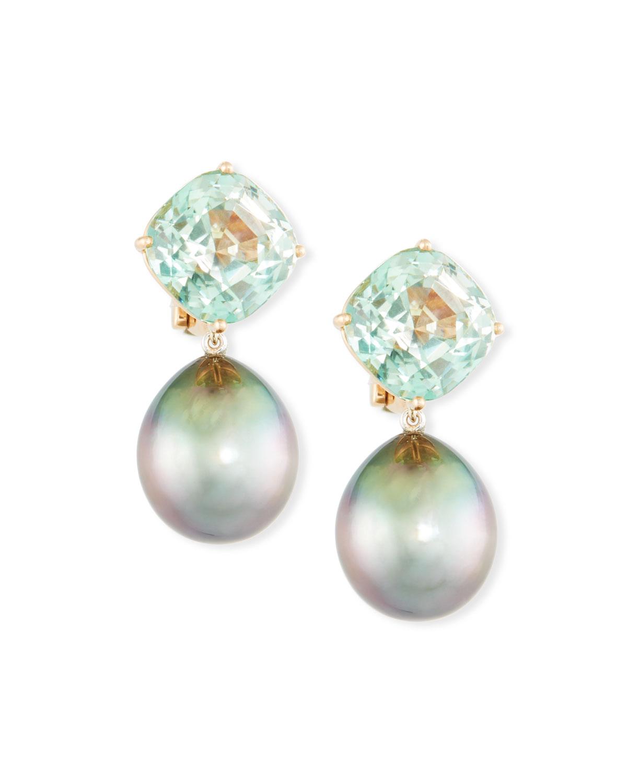 Ael 18k Rose Gold Tourmaline Tahitian Pearl Clip On Drop Earrings