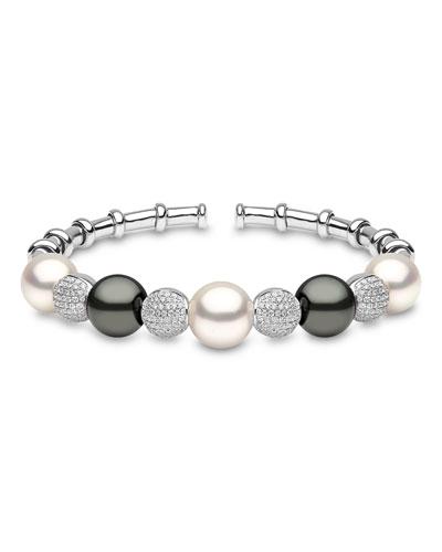 18k White Gold South Sea & Tahitian Pearl Bracelet w/ Diamonds
