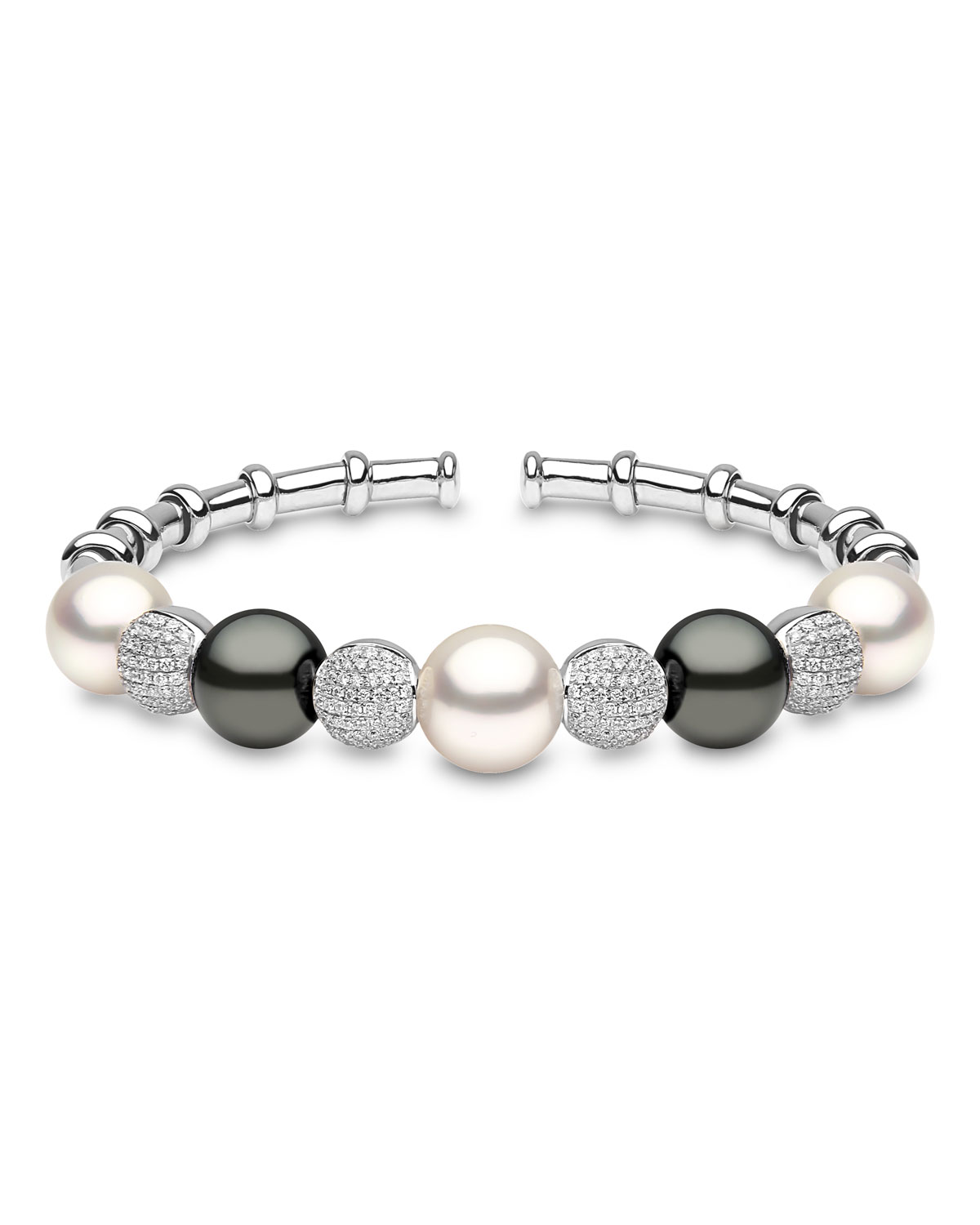 YOKO LONDON 18K White Gold South Sea & Tahitian Pearl Bracelet W/ Diamonds