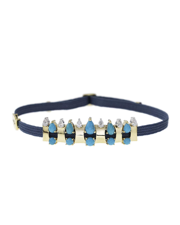 NIKOS KOULIS Spectrum 18K Gold Turquoise & Diamond Bracelet On Cord