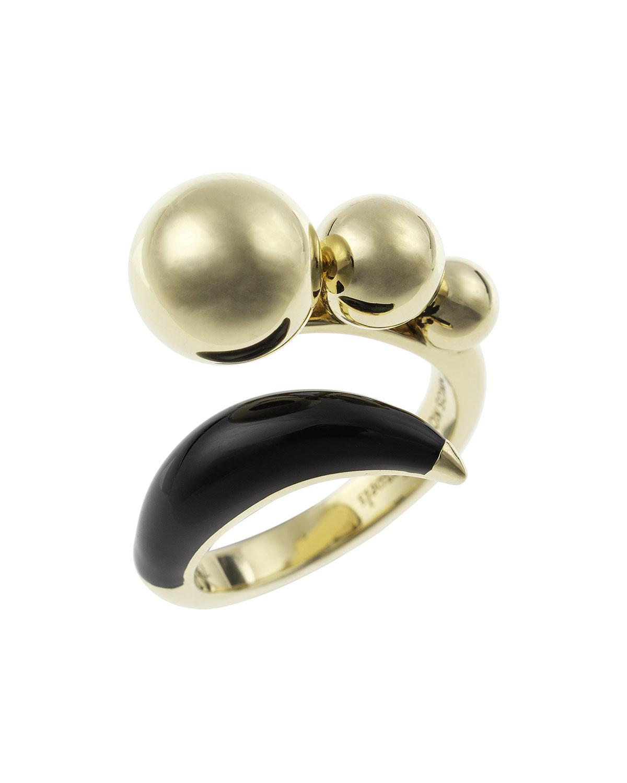 NIKOS KOULIS Lingerie 18K Gold & Black Enamel Ring, Size 6.75