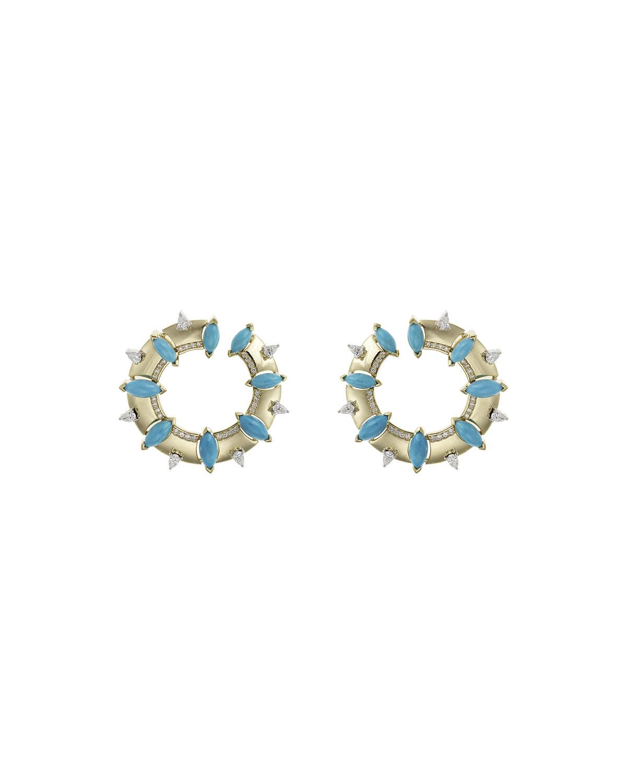 NIKOS KOULIS Spectrum 18K Turquoise & Diamond Pave Hoop Earrings