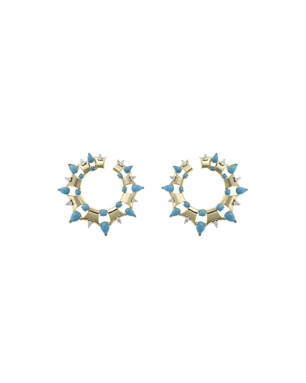NIKOS KOULIS Spectrum 18K Gold Turquoise & Diamond Hoop Earrings