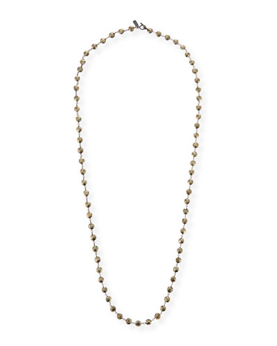 Long Pyrite & Chain Necklace
